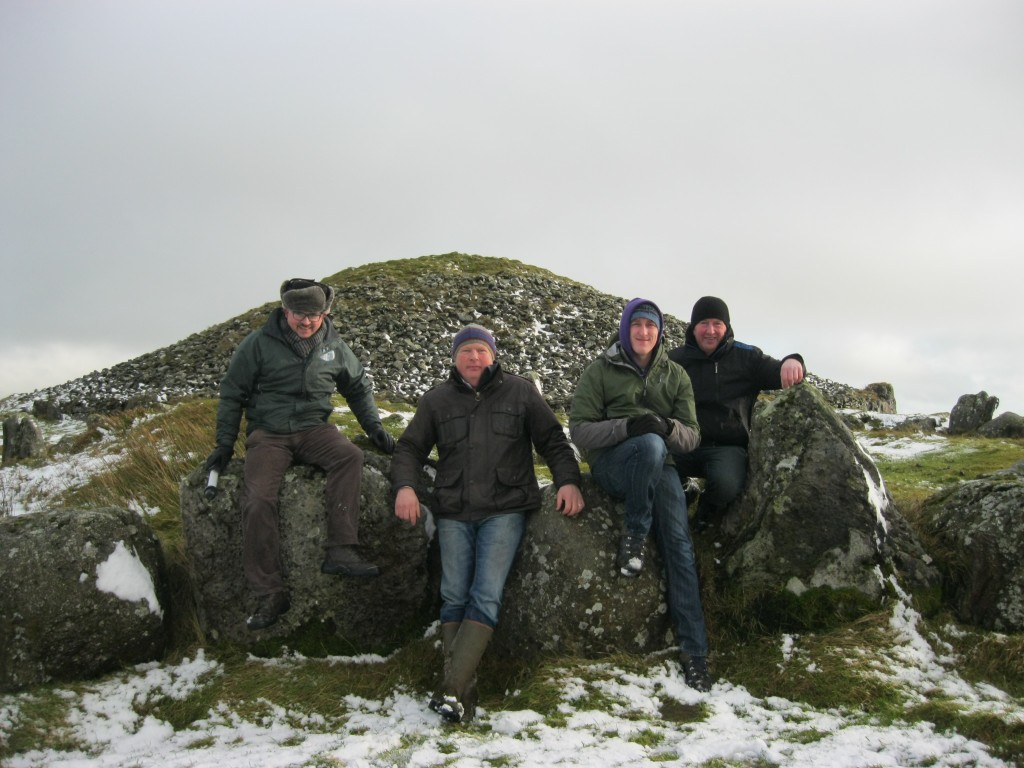 Equinox Festival Crew at Loughcrew - Bartle D'Arcy Directing Tourism, Garry O'Neill President Oldcastle Chamber of Commerce, George Allen General Manager Loughcrew Gardens and Gerry Reilly Oldcastle Tourism Group at Cairn T